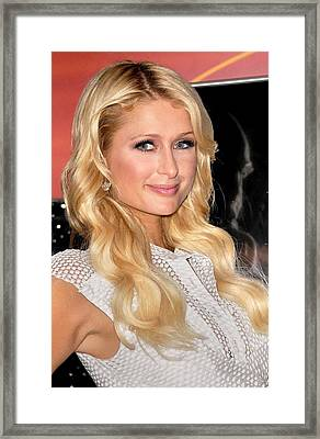 Paris Hilton At In-store Appearance Framed Print by Everett