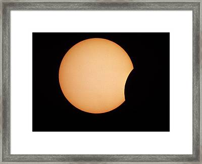 Partial Phase Of An Annular Solar Eclipse, 10/5/94 Framed Print by Dr Fred Espenak