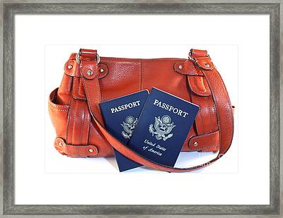 Passports With Orange Purse Framed Print by Blink Images