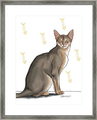 Pastel Cat Framed Print by Mario Domingues