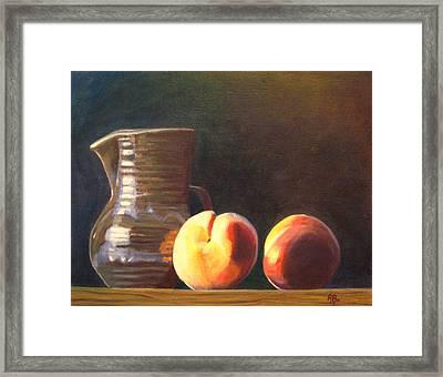 Peachy Still Life Framed Print by Robie Benve