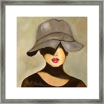 Peekaboo Hat Framed Print