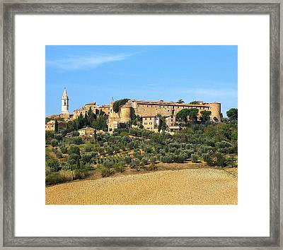 Pienza On The Hill Framed Print