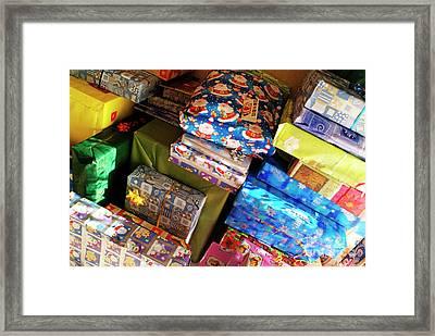 Pile Of Christmas Presents Framed Print by Sami Sarkis