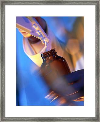 Pills Being Poured Into A Bottle After Counting Framed Print by Tek Image