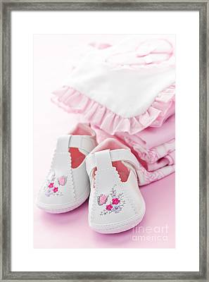 Pink Baby Clothes For Infant Girl Framed Print by Elena Elisseeva