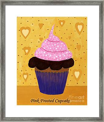 Pink Frosted Cupcake Framed Print by Barbara Griffin