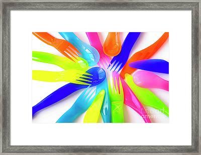 Plastic Cutlery Framed Print by Carlos Caetano