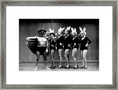 Playboy And Bunnies Framed Print by Gerhardt Isringhaus