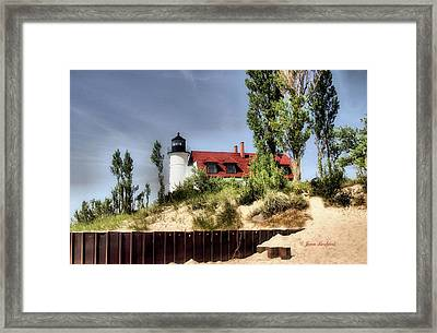 Framed Print featuring the photograph Point Betsie Lighthouse II by Joan Bertucci