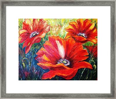 Poppy Flowers In Bloom Framed Print