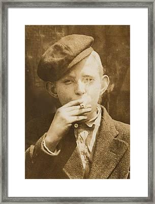 Portrait Of A Boy Smoking, Original Framed Print by Everett
