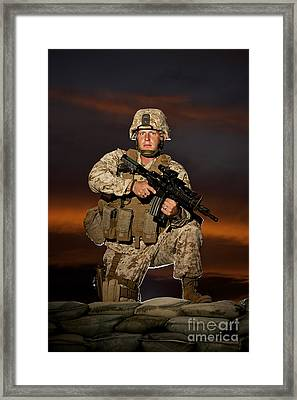 Portrait Of A U.s. Marine In Uniform Framed Print by Terry Moore