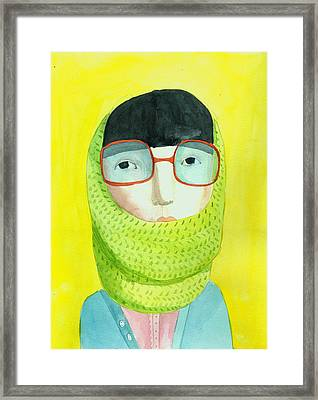 Portrait With Glasses Framed Print by Jenny Meilihove