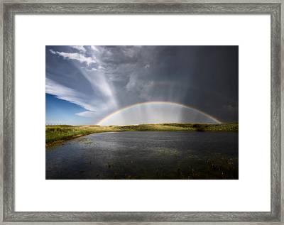 Prairie Hail Storm And Rainbow Framed Print