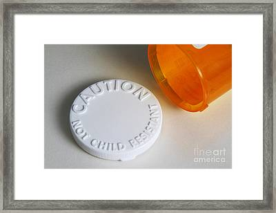 Prescription Pill Bottle With Child Framed Print by Photo Researchers, Inc.