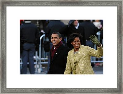President And Michelle Obama Wave Framed Print