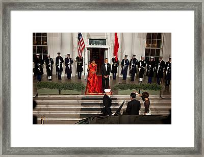 President And Michelle Obama Welcome Framed Print