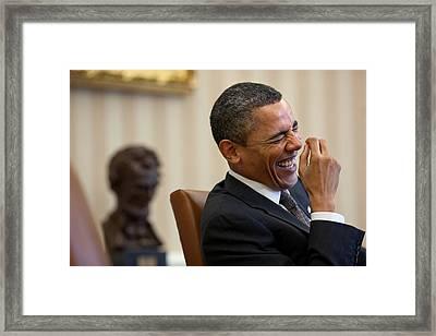 President Barack Obama Laughs Framed Print