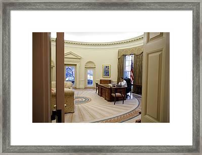 President Barack Obama Talks Framed Print