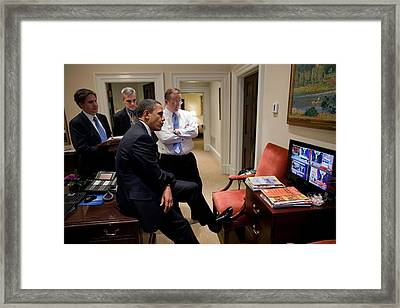 President Barack Obama Watches Framed Print by Everett