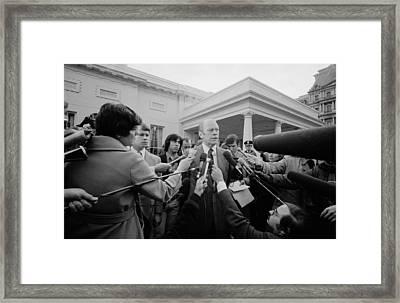 President Gerald Ford Speaking Framed Print by Everett