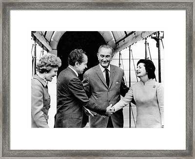 President Lyndon And Lady Bird Johnson Framed Print by Everett