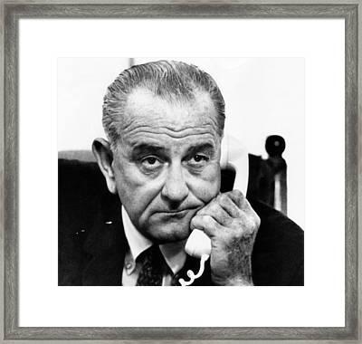 President Lyndon B. Johnson Framed Print by Everett