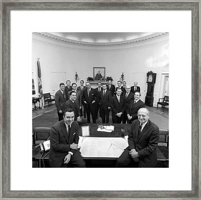 President Lyndon Johnson Posing Framed Print by Everett
