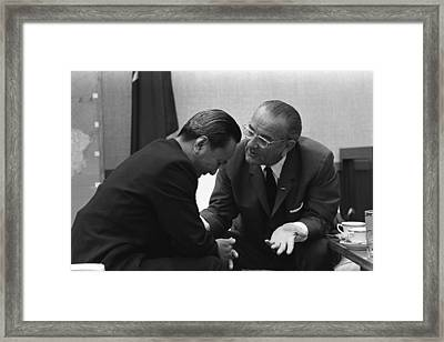 President Lyndon Johnson Talks Framed Print by Everett