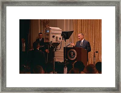 President Lyndon Johnson Televised Framed Print by Everett