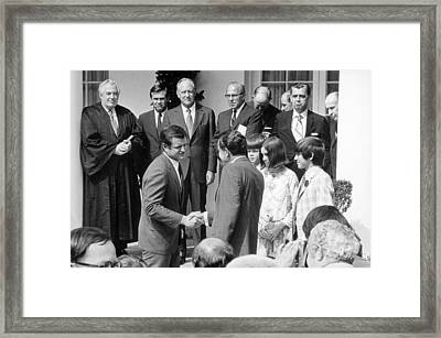 President Nixon Shaking Hands Framed Print by Everett