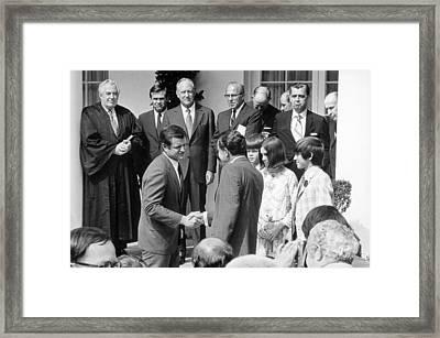 President Nixon Shaking Hands Framed Print by Everett