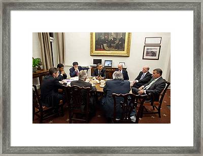 President Obama And Vp Joe Biden Hold Framed Print