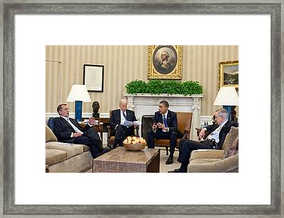 President Obama And Vp Joe Biden Meet Framed Print