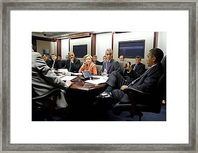 President Obama Holds A Meeting Framed Print