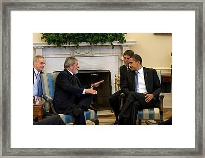 President Obama Meets With President Framed Print by Everett