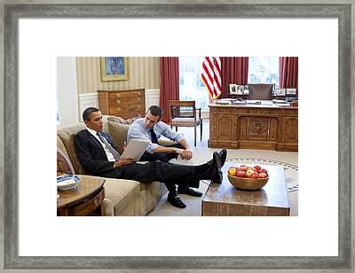 President Obama Works On His State Framed Print