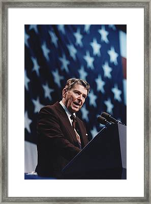 President Reagan Speaking At A Rally Framed Print by Everett