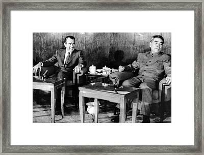 President Richard Nixon And Premier Framed Print by Everett