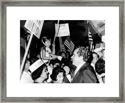President Richard Nixon Greets Framed Print by Everett