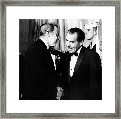 President Richard Nixon Shakes Hands Framed Print by Everett