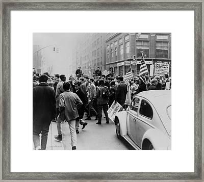 Pro-vietnam War Demonstrators Framed Print