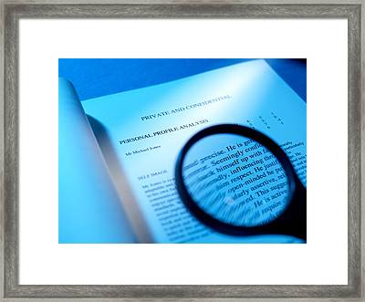 Psychometric Test Results Framed Print