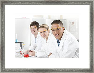 Pupils In A Science Lesson Framed Print by