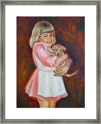 Puppy Love Framed Print by Holly LaDue Ulrich