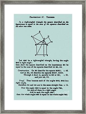 Pythagorean Theorem In English Framed Print by Science Source