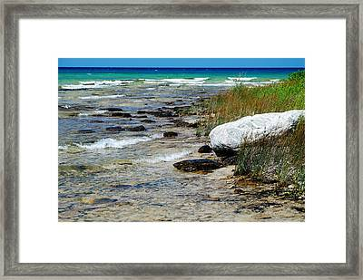 Quiet Waves Along The Shore Framed Print by Janice Adomeit