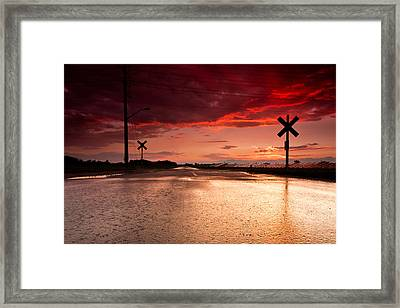 Railroad Sunset Framed Print by Cale Best