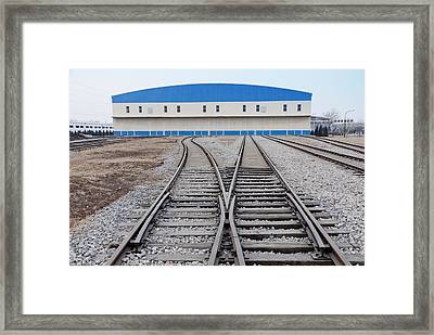 Railway Shed And Sidings. Bright Blue Framed Print by Guang Ho Zhu